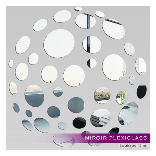 Miroir acrylique plexiglass petits ronds 10 for Petits miroirs ronds