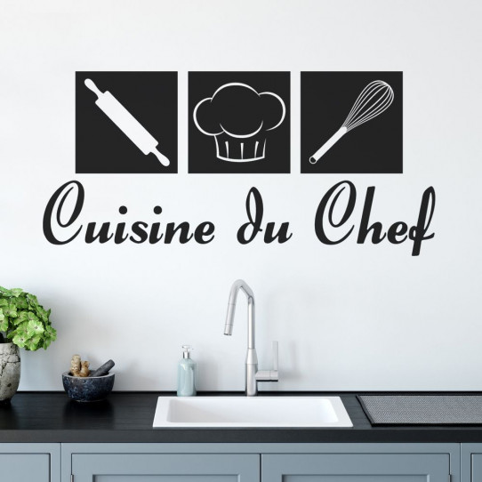 stickers citation cuisine du chef des prix 50 moins cher qu 39 en magasin. Black Bedroom Furniture Sets. Home Design Ideas