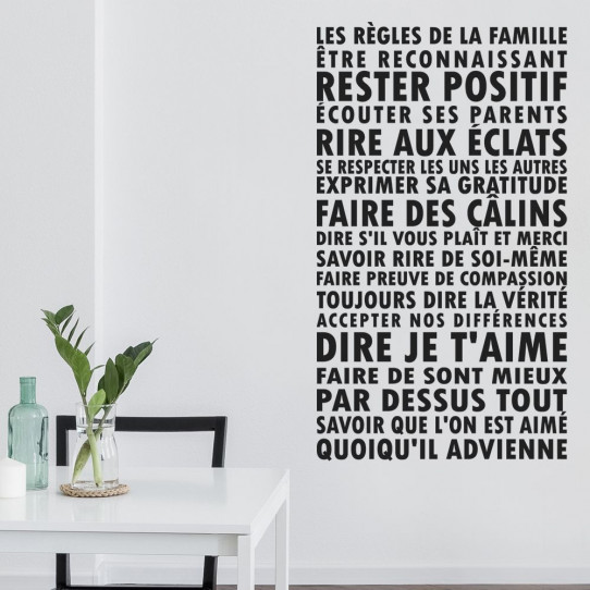 stickers les r gles de la famille des prix 50 moins. Black Bedroom Furniture Sets. Home Design Ideas