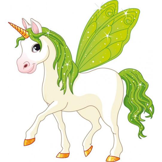Stickers licorne ailes verte des prix 50 moins cher qu for Miroir 90x100