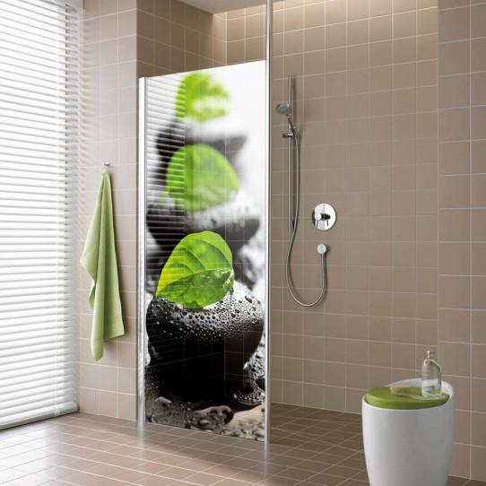 stickers paroi de douche semi translucide galets. Black Bedroom Furniture Sets. Home Design Ideas