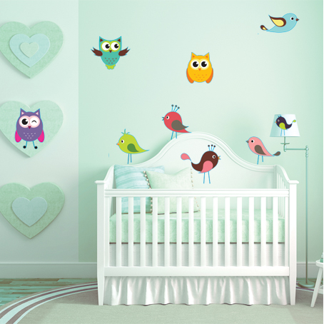 kit stickers oiseaux hiboux des prix 50 moins cher qu 39 en magasin. Black Bedroom Furniture Sets. Home Design Ideas