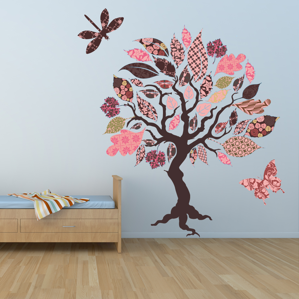 stickers arbre papillon libellule des prix 50 moins. Black Bedroom Furniture Sets. Home Design Ideas