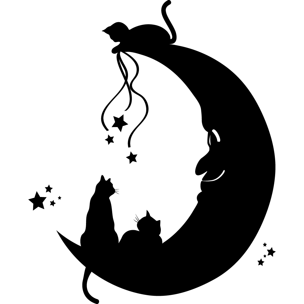 stickers chats lune des prix 50 moins cher qu 39 en magasin. Black Bedroom Furniture Sets. Home Design Ideas
