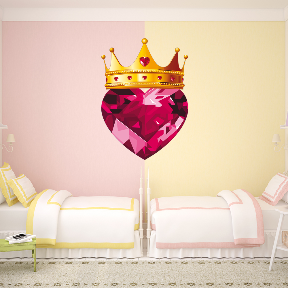 Stickers couronne et coeur en diamant des prix 50 moins for Coeur couronne et miroir apollinaire