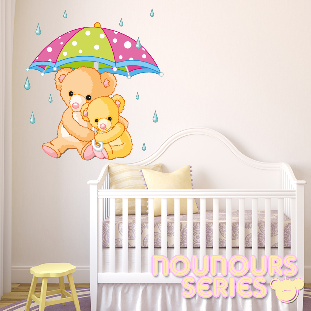 Stickers maman et bebe ourson des prix 50 moins cher qu for Stickers ourson chambre bebe