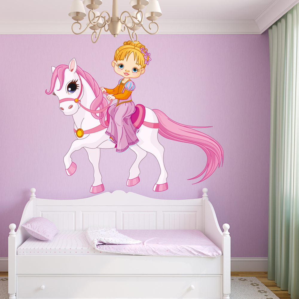 stickers petite fille poney des prix 50 moins cher qu. Black Bedroom Furniture Sets. Home Design Ideas