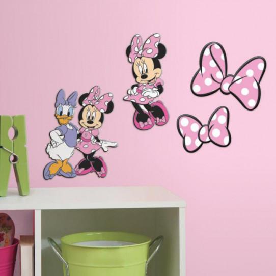 4 stickers disney minnie daisy 3d relief en mousse des. Black Bedroom Furniture Sets. Home Design Ideas