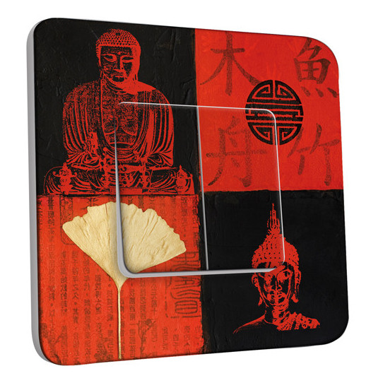 Interrupteur Décoré Double va et vient Bouddha Peinture