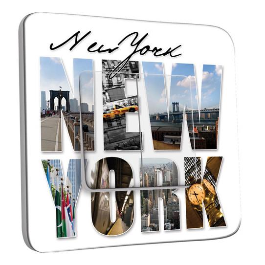 Interrupteur Décoré Double va et vient New York Lettres 1
