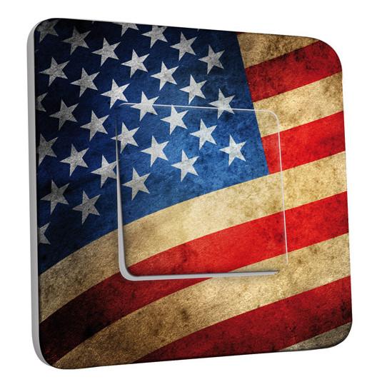 interrupteur d cor simple va et vient drapeau americain des prix 50 moins cher qu 39 en magasin. Black Bedroom Furniture Sets. Home Design Ideas