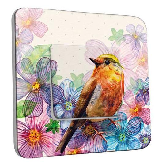 Interrupteur Décoré Simple Fleurs Oiseaux Abstrait 11