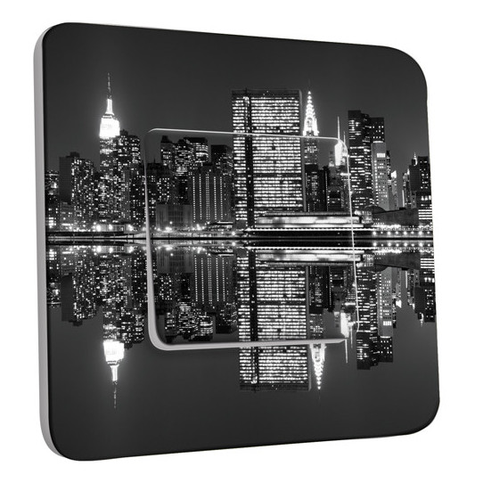 Interrupteur Décoré Simple  New York Manhatan Black&White