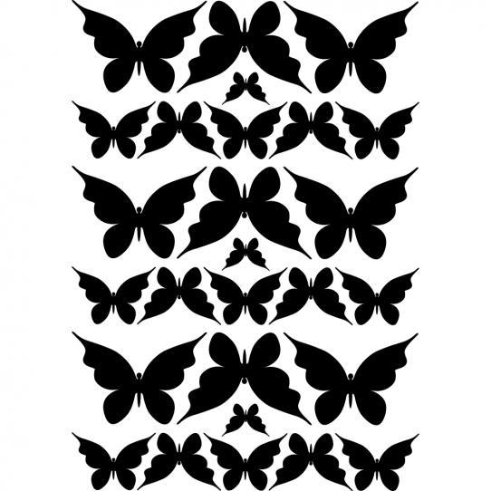 Kit 27 Stickers papillon