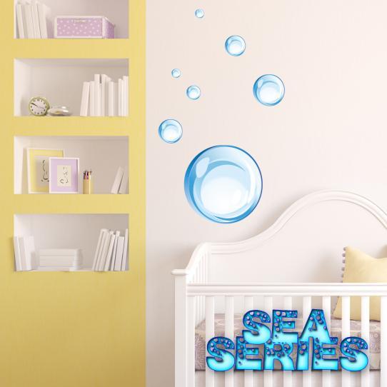 Autocollant Stickers mural enfant kit 7 bulles d' eau