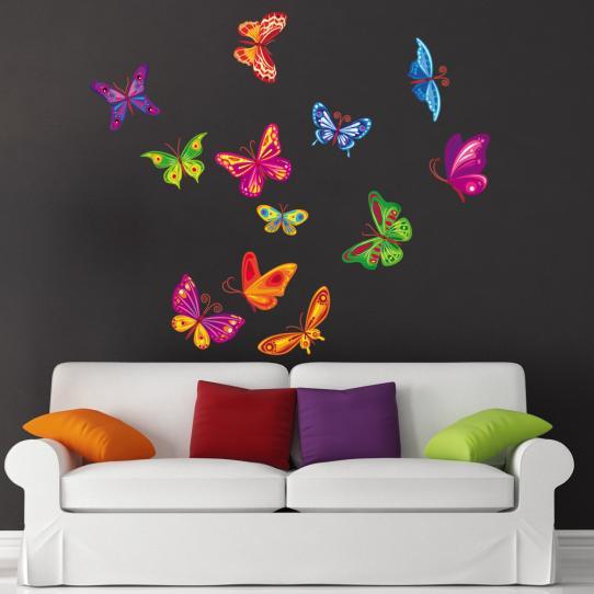 Autocollant Stickers muraux enfant kit 12 papillons