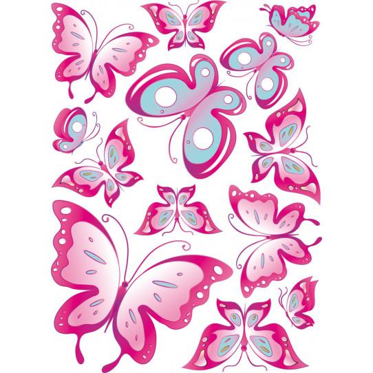 Autocollant Stickers enfant kit 13 papillons