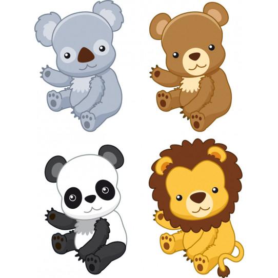 Autocollant Stickers enfant kit 4 animaux