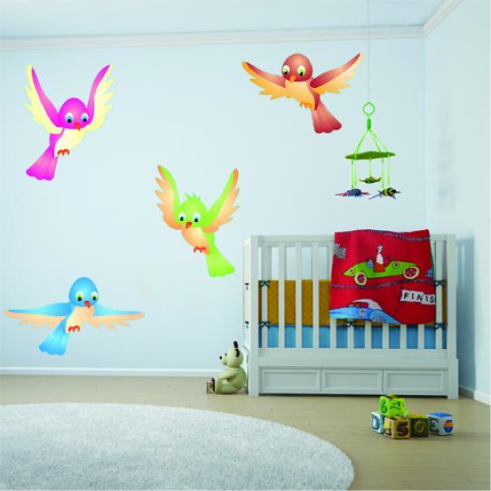 Autocollant Stickers mural enfant kit 4 oiseaux