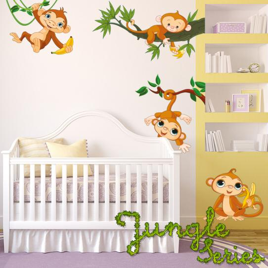 Autocollant Stickers mural enfant kit 4 singes