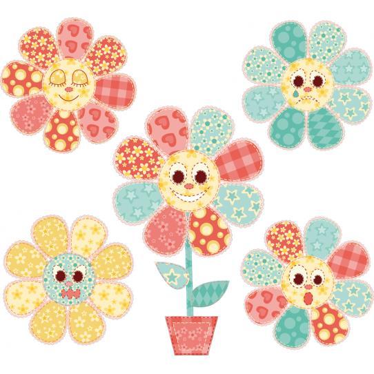 Kit stickers 5 fleurs