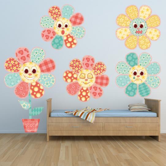 Autocollant Stickers mural enfant kit 5 fleurs