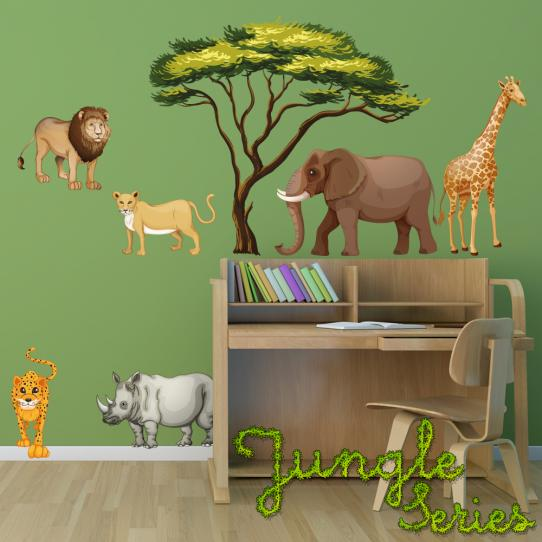 Autocollant Stickers mural enfant kit 6 animaux