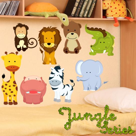 Autocollant Stickers mural enfant kit 8 animaux
