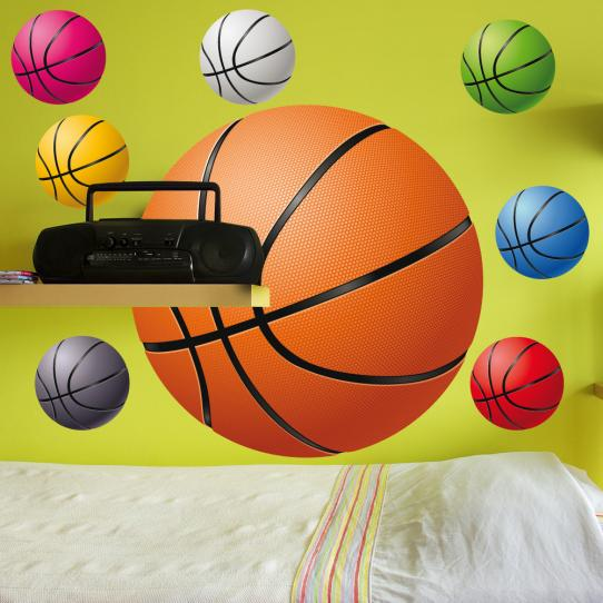 Autocollant Stickers ado kit 8 ballons de basketball