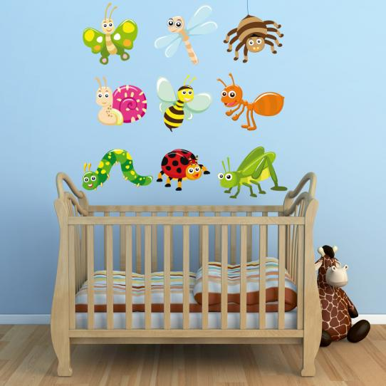 Autocollant Stickers mural enfant kit 9 insectes