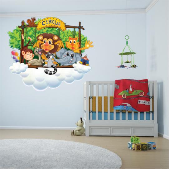 Autocollant Stickers mural enfant kit animaux