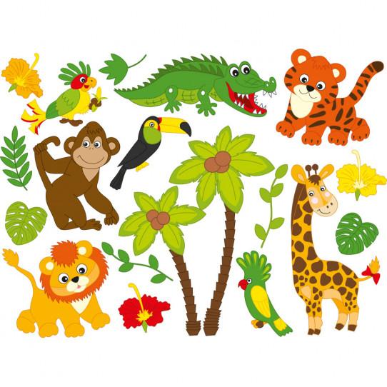 kit stickers animaux de la jungle des prix 50 moins cher qu 39 en magasin. Black Bedroom Furniture Sets. Home Design Ideas