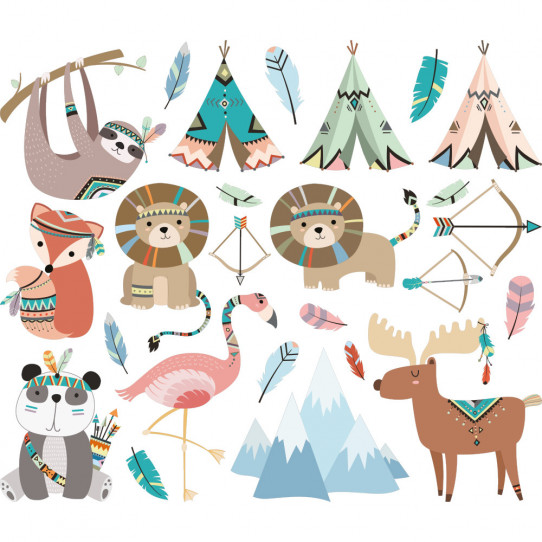 kit stickers animaux indiens - Des prix 50% moins cher qu en magasin 7dc10f4e0ae