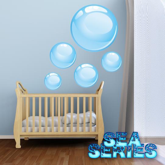 Autocollant Stickers muraux enfant kit 5 bulles d ' eau