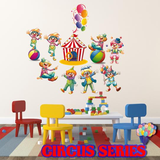 Autocollant Stickers mural enfant kit 8 clowns