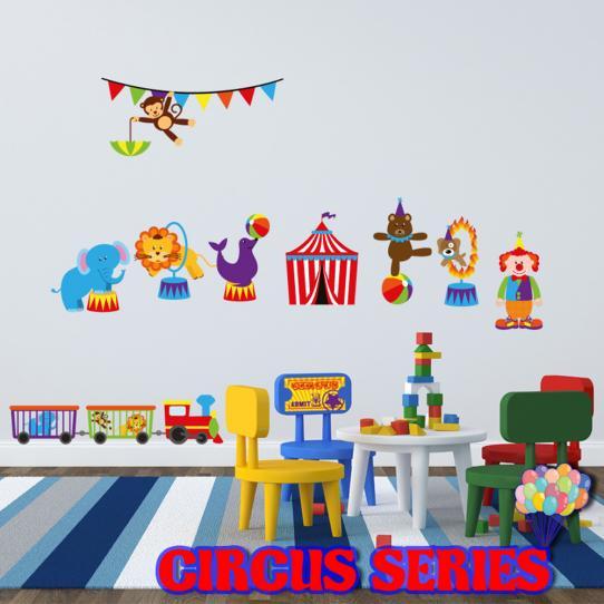 Autocollant Stickers mural enfant kit clown et animaux