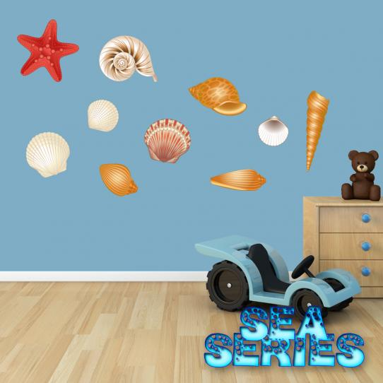 Autocollant Stickers mural enfant kit 10 coquillages