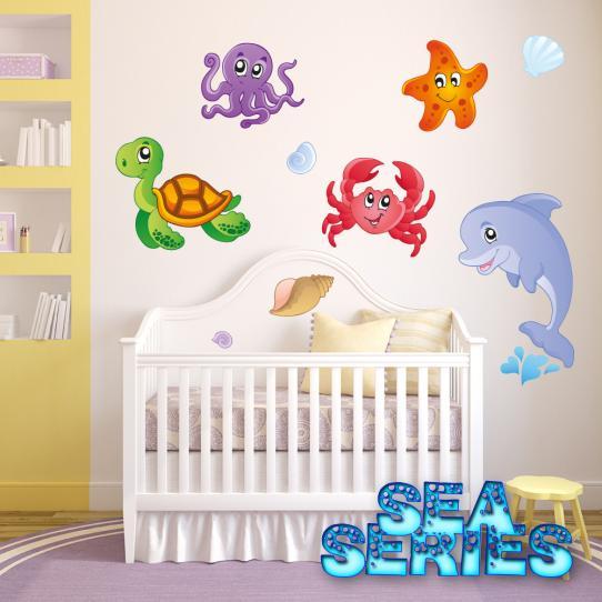 Autocollant Stickers mural enfant kit 5 animaux de mers