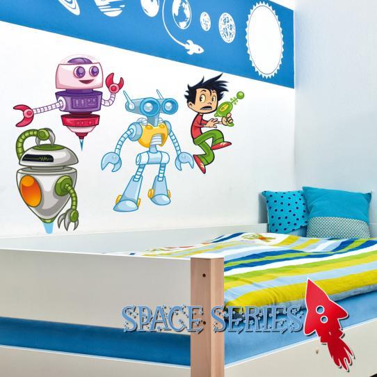 Autocollant Stickers mural enfant kit 3 robots 1 jeune garçon