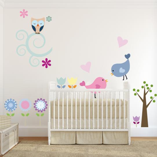 Autocollant Stickers mural enfant fleurs oiseaux