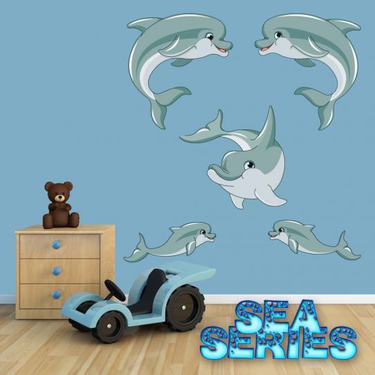 Autocollant  enfant kit stickers muraux 5 dauphins