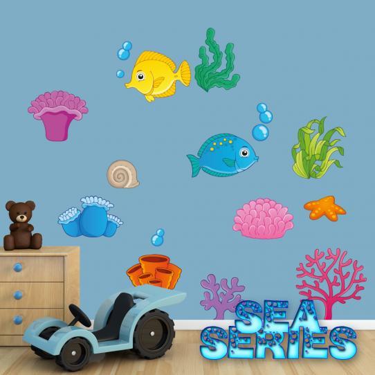 Autocollant Stickers mural enfant animaux de mers