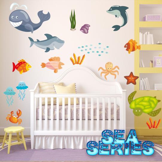 Autocollant Stickers mural enfant kit 16 fonds marins
