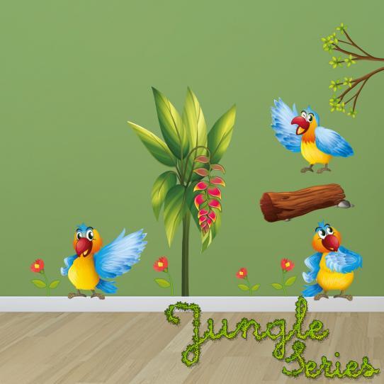 Autocollant Stickers muraux enfant kit 3 oiseaux