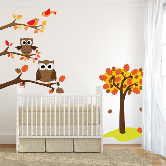 Autocollant Stickers mural enfant oiseaux et hiboux