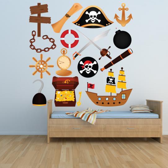 Autocollant Stickers mural enfant kit 15 accesoires pirates