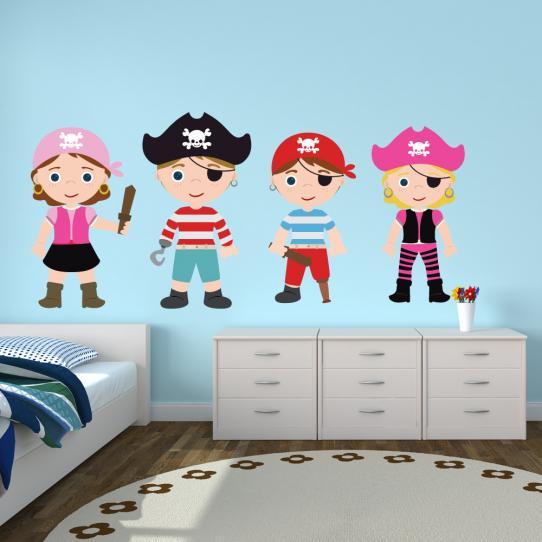 Autocollant Stickers mural enfant kit 4 pirates