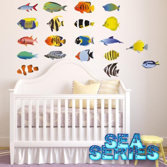 Autocollant Stickers muraux enfant kit 20 poissons