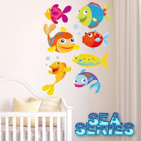 Autocollant Stickers mural enfant kit 7 poissons