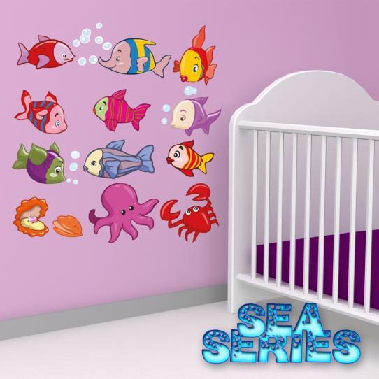 Autocollant Stickers mural enfant kit 12 poissons